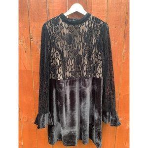 Forever 21+ Black Velvet Lace Dress